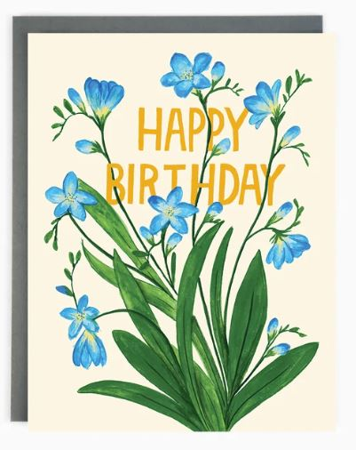 Made in Brockton Village - Birthday Freesias Card