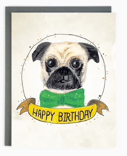 Made in Brockton Village - Happy Birthday Pug Card