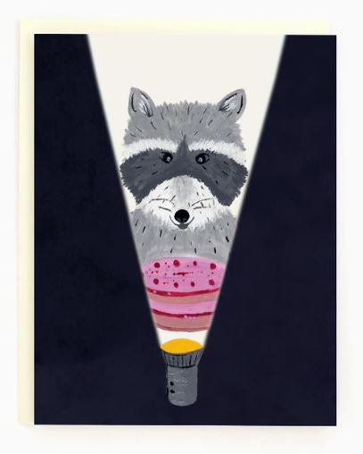 Made in Brockton Village - Birthday Raccoon Card