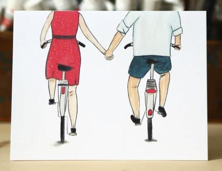 Made in Brockton Village - Bike Couple Card