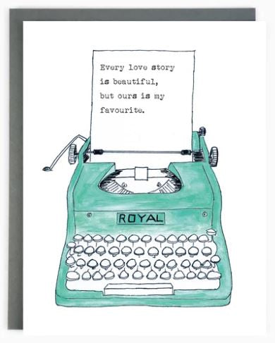 Made in Brockton Village - Typewriter Love Story Card