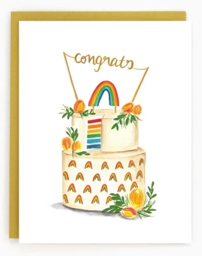 Made in Brockton Village - Rainbow Wedding Cake Card