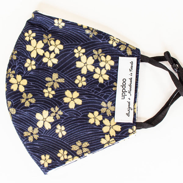 Non-medical Adult Mask - Navy Gold Cherry Blossoms