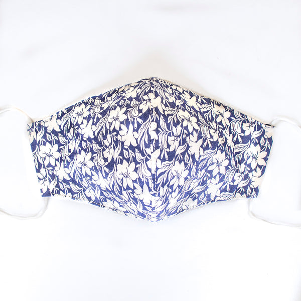 Handmade 3-Ply Adult Mask with Filter - 'Navy & White Floral'