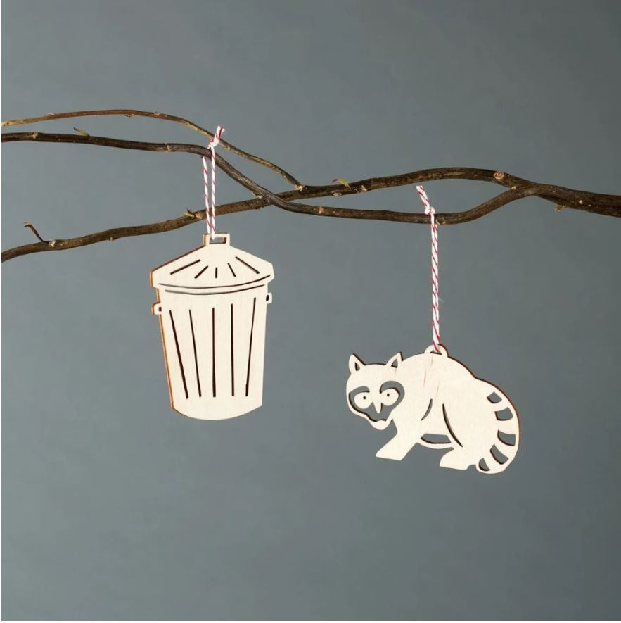 Light + Paper Studio - Raccoon & Trash Ornament Set
