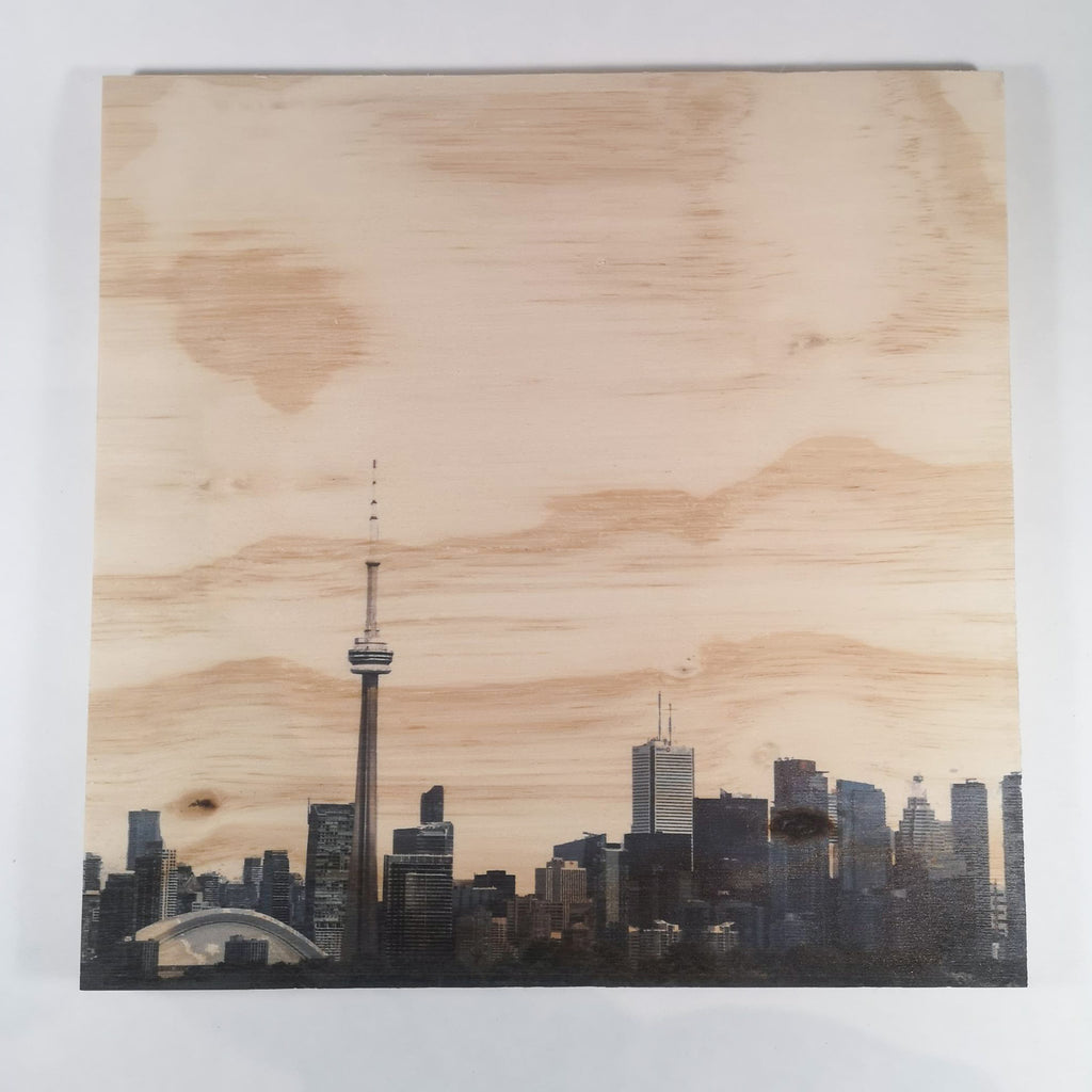 Resurfaced - Toronto Skyline (without sky) Wood Print 12x12""