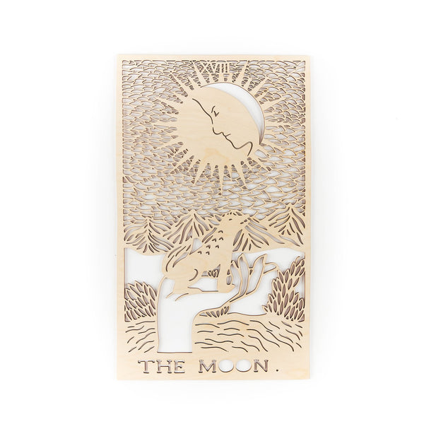 Light + Paper Studio - WOODEN TAROT CARD ARTWORK - THE MOON