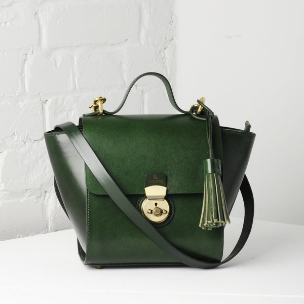 Vive Top Handle Satchel - Hunter Green