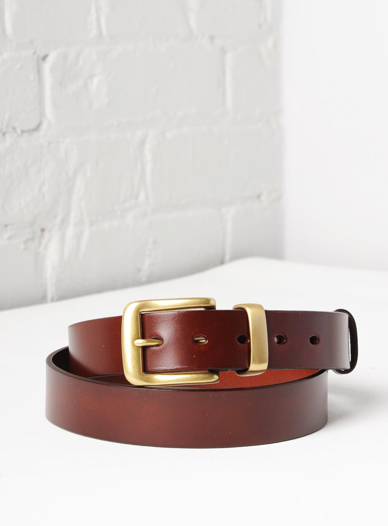 'Veneto' Italian Leather Belt - Chestnut