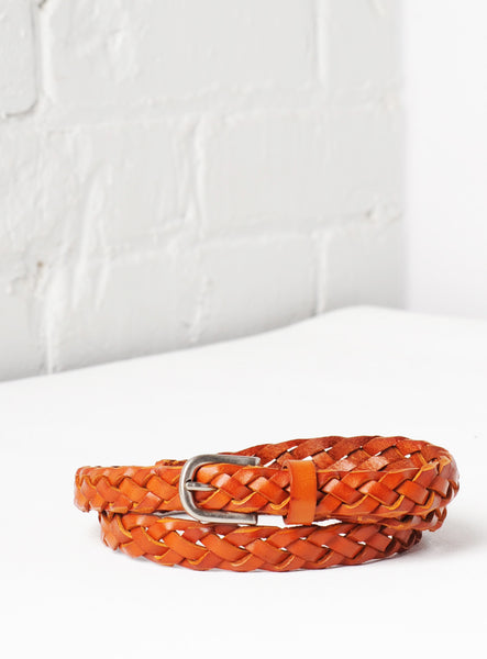'Venice' Hand-Woven Skinny Leather Belt - Royal Tan