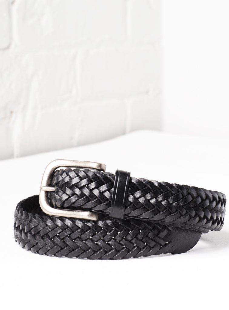 'Venice' Hand-Woven Italian Leather Belt - Black
