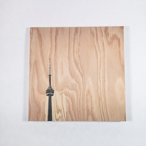 Resurfaced - CN Tower Wood Print 8x8""