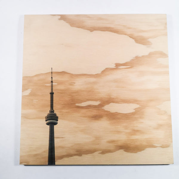 Resurfaced - CN Tower Wood Print 12x12""