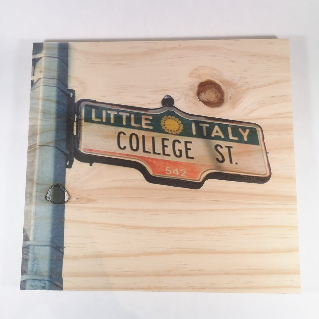 Resurfaced - College St. Sign Wood Print 12x12""
