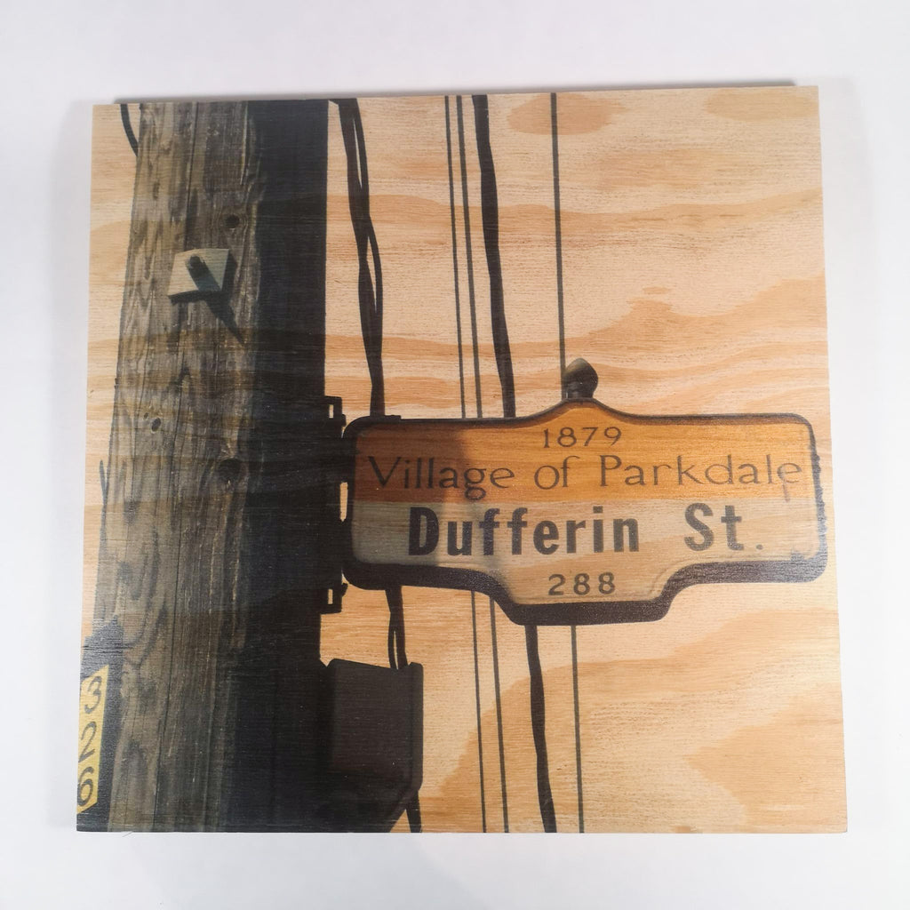 Resurfaced - Dufferin St. Sign Wood Print 12x12""