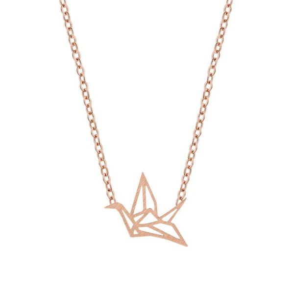 PRYSM - Origami Crane Necklace Rose Gold