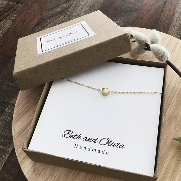 Beth + Olivia - GOLD MINI HEART NECKLACE