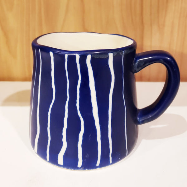 'GEO' Hand-Painted & Handmade Ceramic Mugs (Indigo Striped)