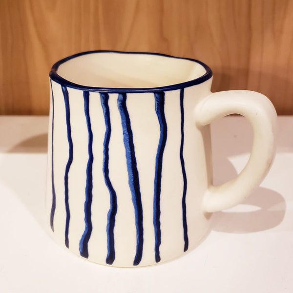 'GEO' Hand-Painted & Handmade Ceramic Mugs (White Striped)