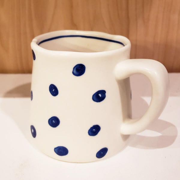 'GEO' Hand-Painted & Handmade Ceramic Mugs (White Dotted)