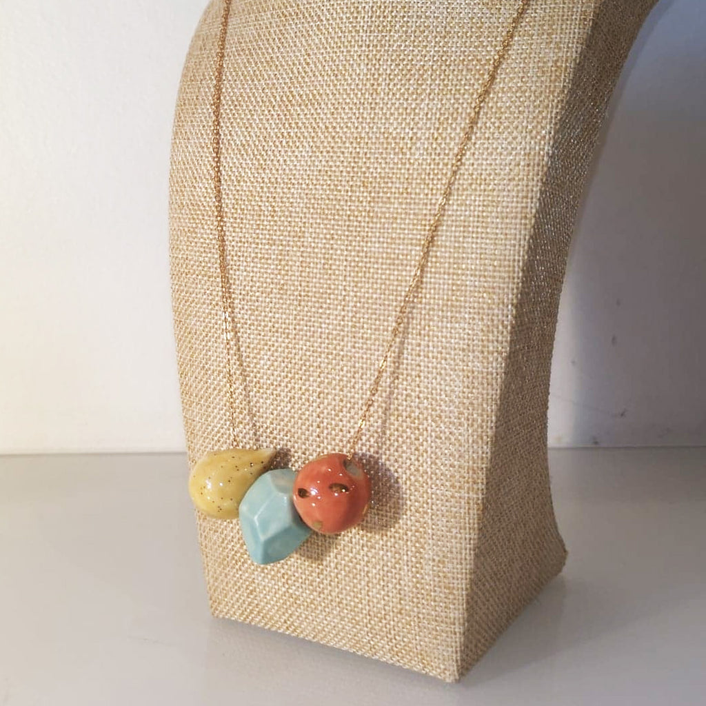 Catmamola Ceramics - Porcelain Rock Drop Beaded Necklace (Lily)