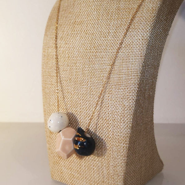 Catmamola Ceramics - Porcelain Rock Drop Beaded Necklace (Nelly)