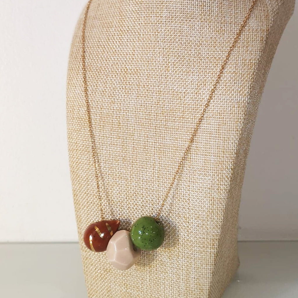 Catmamola Ceramics - Porcelain Rock Drop Beaded Necklace (Ruth)