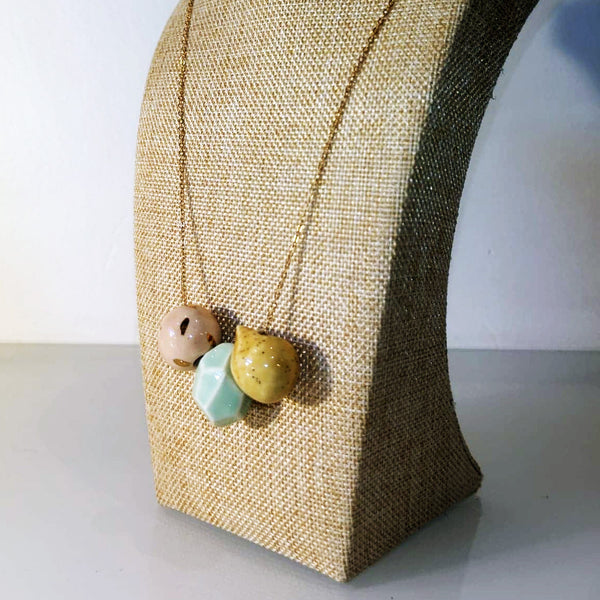 Catmamola Ceramics - Porcelain Rock Drop Beaded Necklace (Diana)