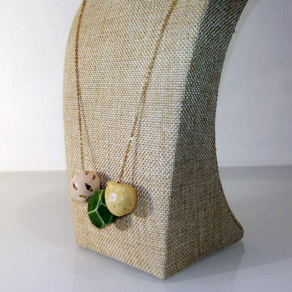Catmamola Ceramics - Porcelain Rock Drop Beaded Necklace (Gigi)