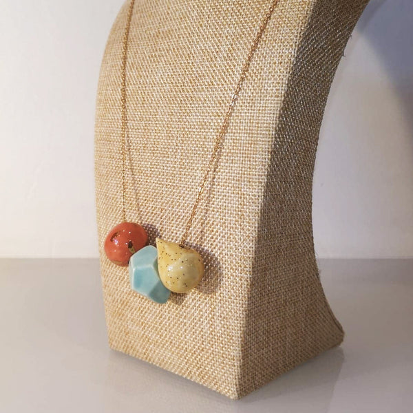 Catmamola Ceramics - Porcelain Rock Drop Beaded Necklace (Hidi)