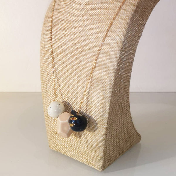 Catmamola Ceramics - Porcelain Rock Drop Beaded Necklace (Joyce)