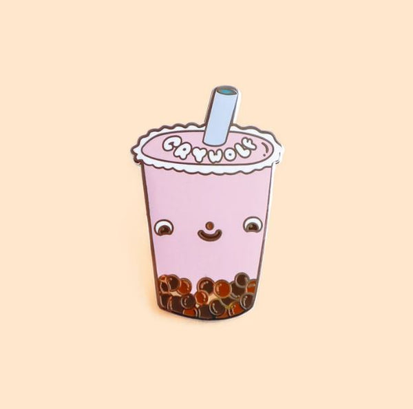Crywolf - Strawberry Bubble Tea Enamel Pin