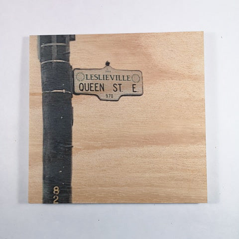 Resurfaced - Queen St. E Sign Wood Print 8x8""