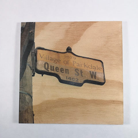 Resurfaced - Queen St. W Sign Wood Print 8x8""