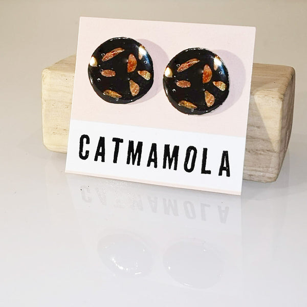 Catmamola Ceramics - Porcelain Stud Pie Earrings (Black)
