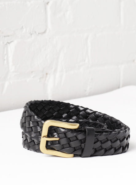 'Tuscany' Hand-Woven Leather Belt - Black