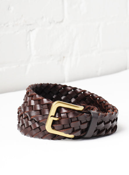 'Tuscany' Hand-Woven Leather Belt - Espresso