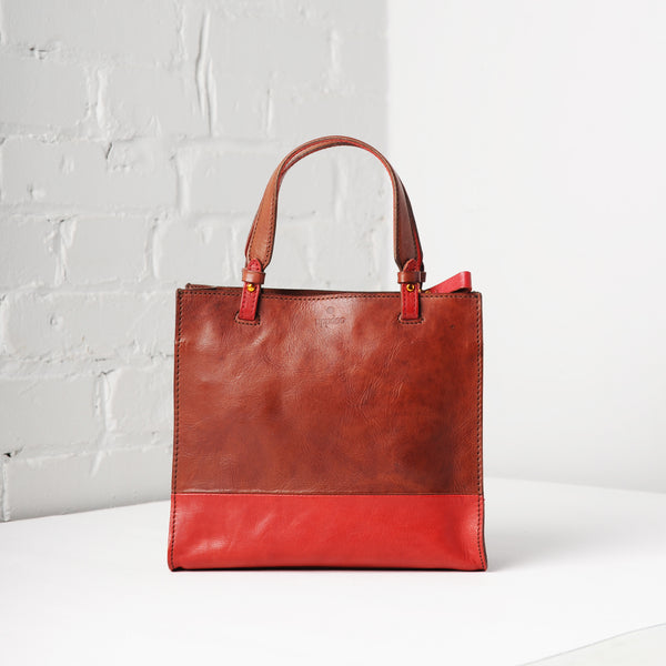 Carrée Two-Tone Small Tote (Cinnamon)
