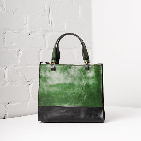 Carrée Two-Tone Small Tote (Forest Green)