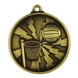 Gold Lightning Netball Medal - 50mm - The Trophy Superstore