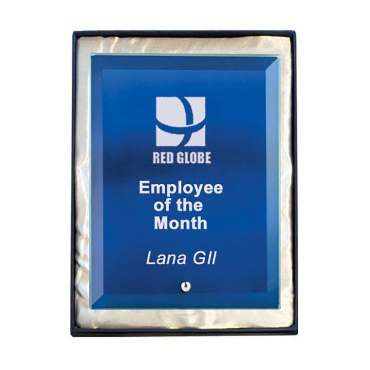 Blue Rectangle Glass Award