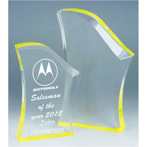 Peak Yellow Acrylic Award freeshipping - The Trophy Superstore