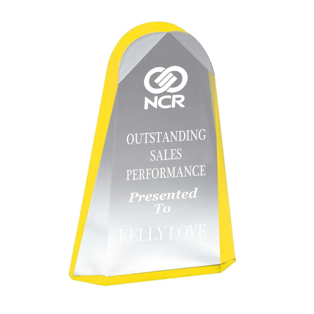 Reflection Yellow Acrylic Award - The Trophy Superstore