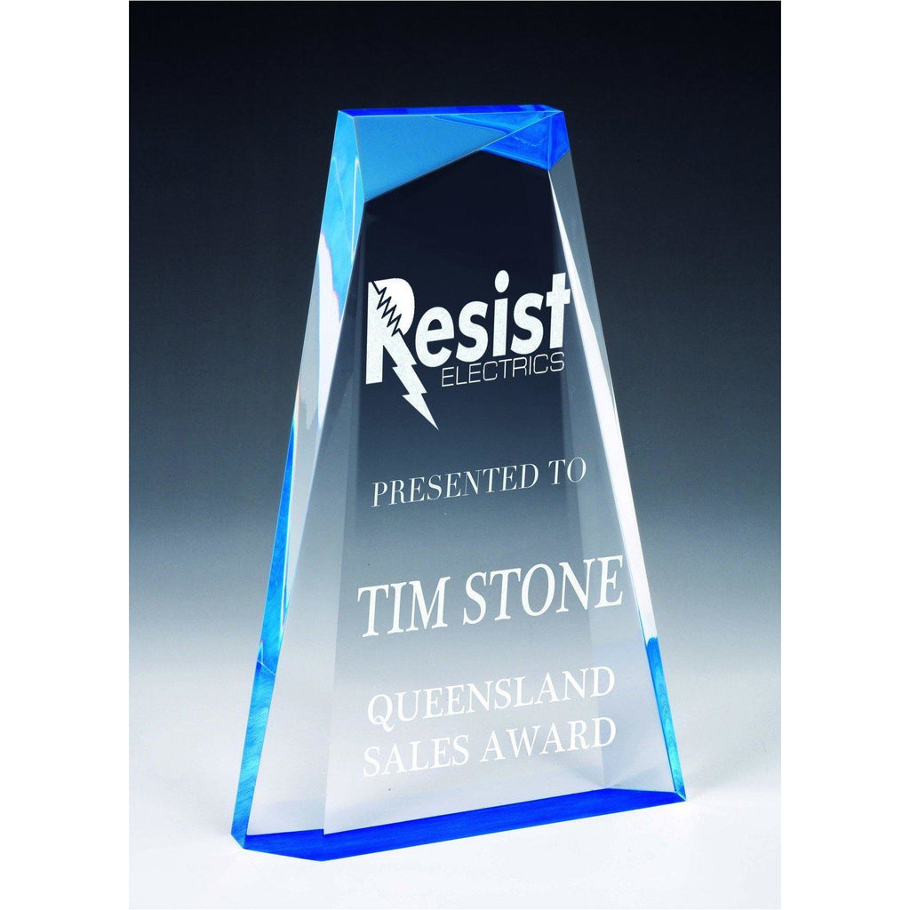 Ascend Blue Acrylic Award available in three sizes - code AA3821ABL - The Trophy Superstore
