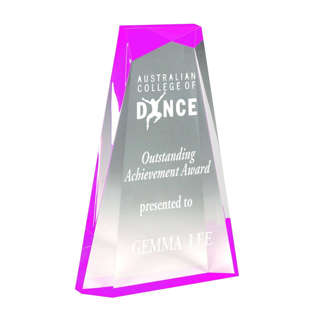 Ascend Pink Acrylic Award hree sizes available -AA3821P - The Trophy Superstore