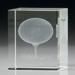 3D Golf Crystal Trophy freeshipping - The Trophy Superstore
