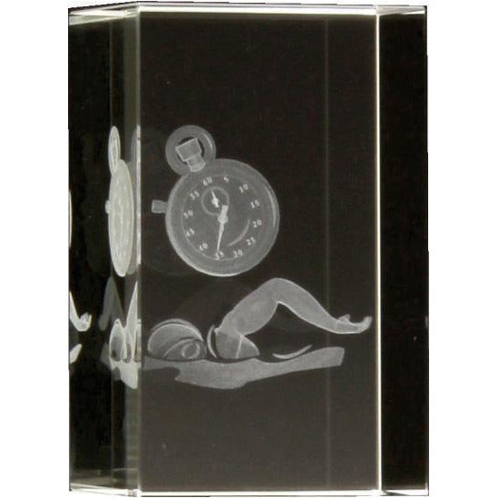 3D Crystal Swimming Block - 80mm - The Trophy Superstore