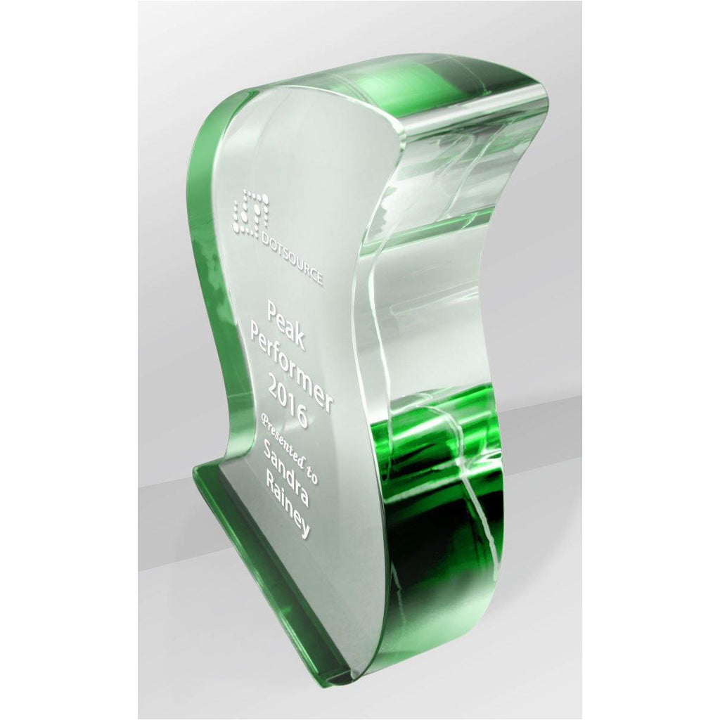 Green Ribbon Crystal Kaleido Award freeshipping - The Trophy Superstore
