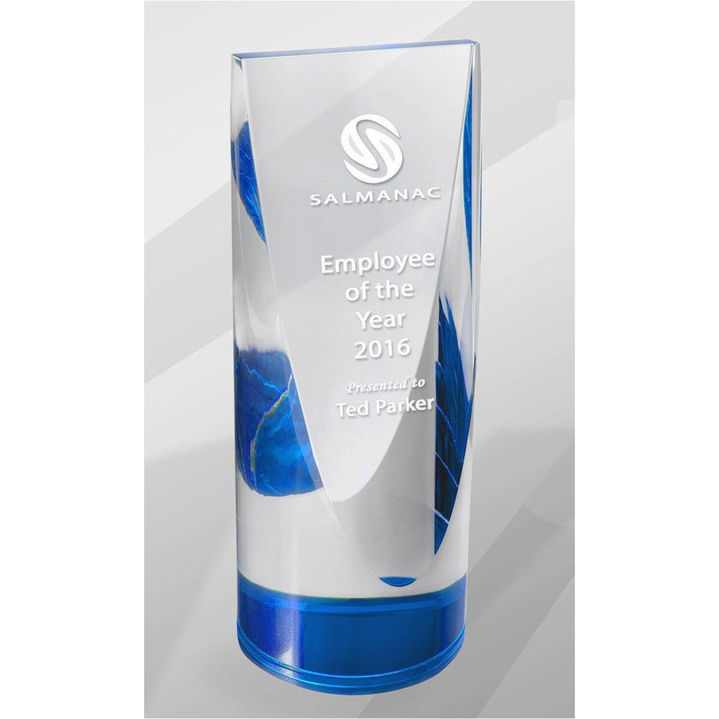 Blue Cylinder Crystal Kaleido Award - The Trophy Superstore