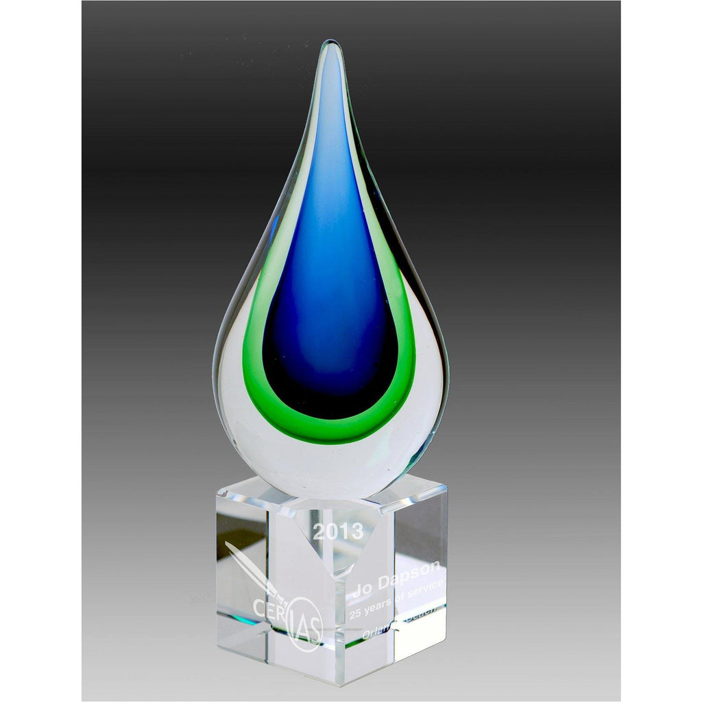 Carlo Blue and Green Sculpture - Faceted Base - The Trophy Superstore